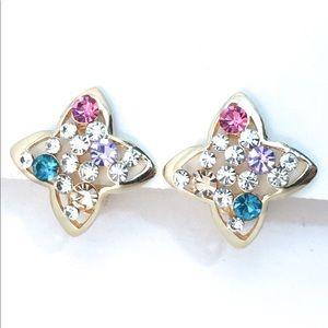 Multicolor Rhinestone Crystal Clip Earrings